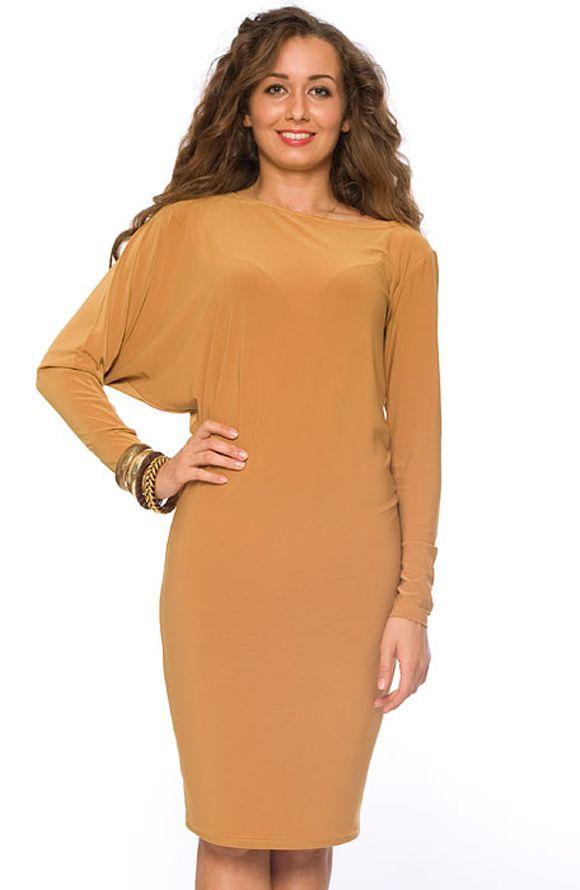 Платье из трикотажа с объемным верхом. . Платье ассиметричное: один рукав платья - втачной, второй
